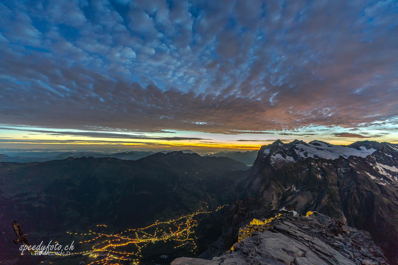 Morgenszenerie über dem Wetterhorn